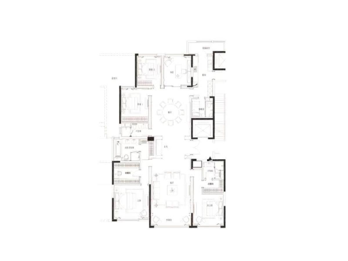 九龙仓滨江壹十八6室2厅4卫户型图