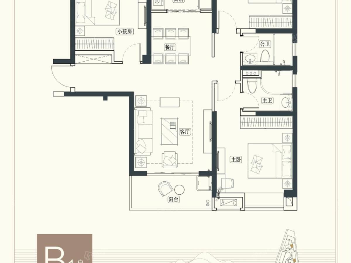 海伦堡·观山府3室2厅2卫户型图