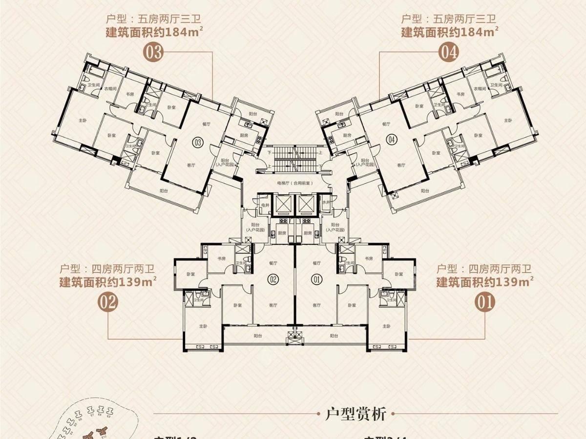 富力城5室2厅3卫户型图