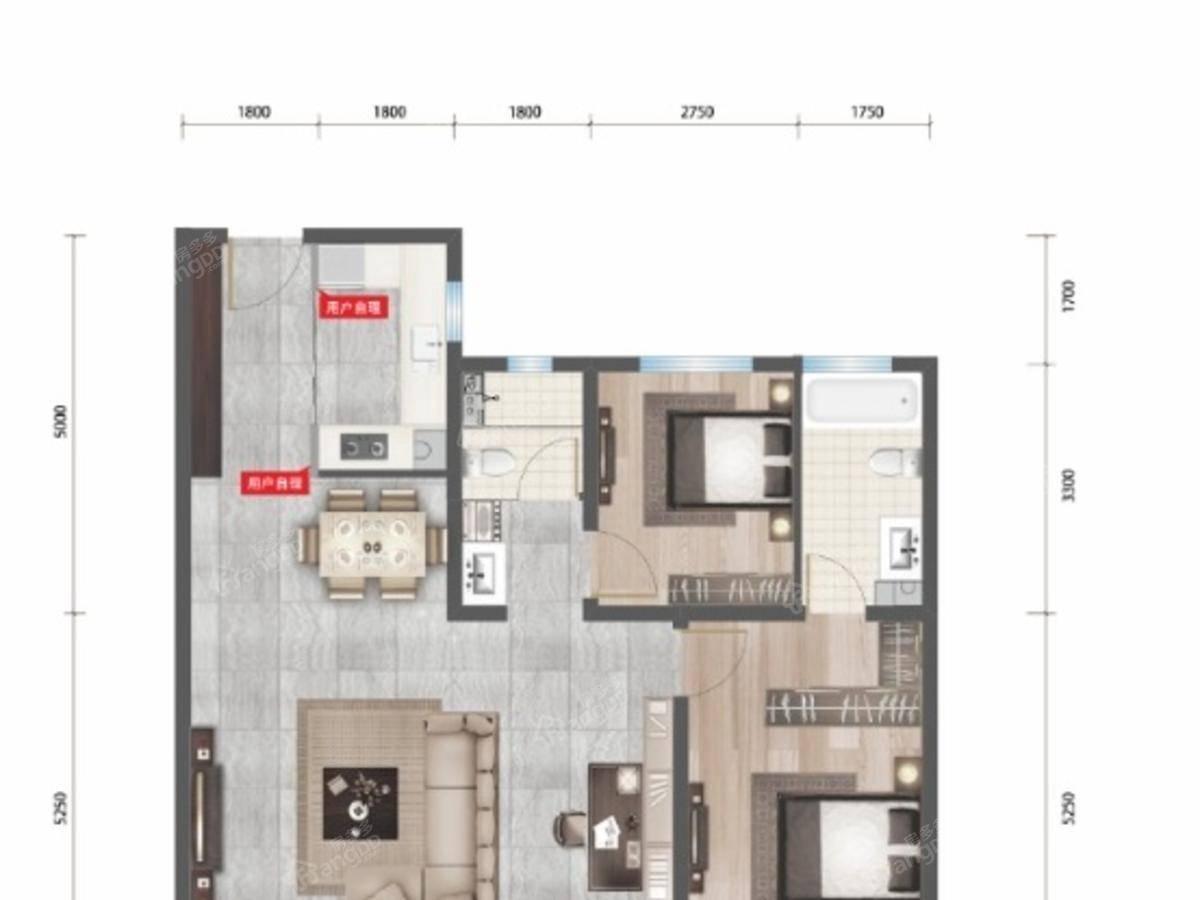 永泰城御景二期3室2厅2卫户型图