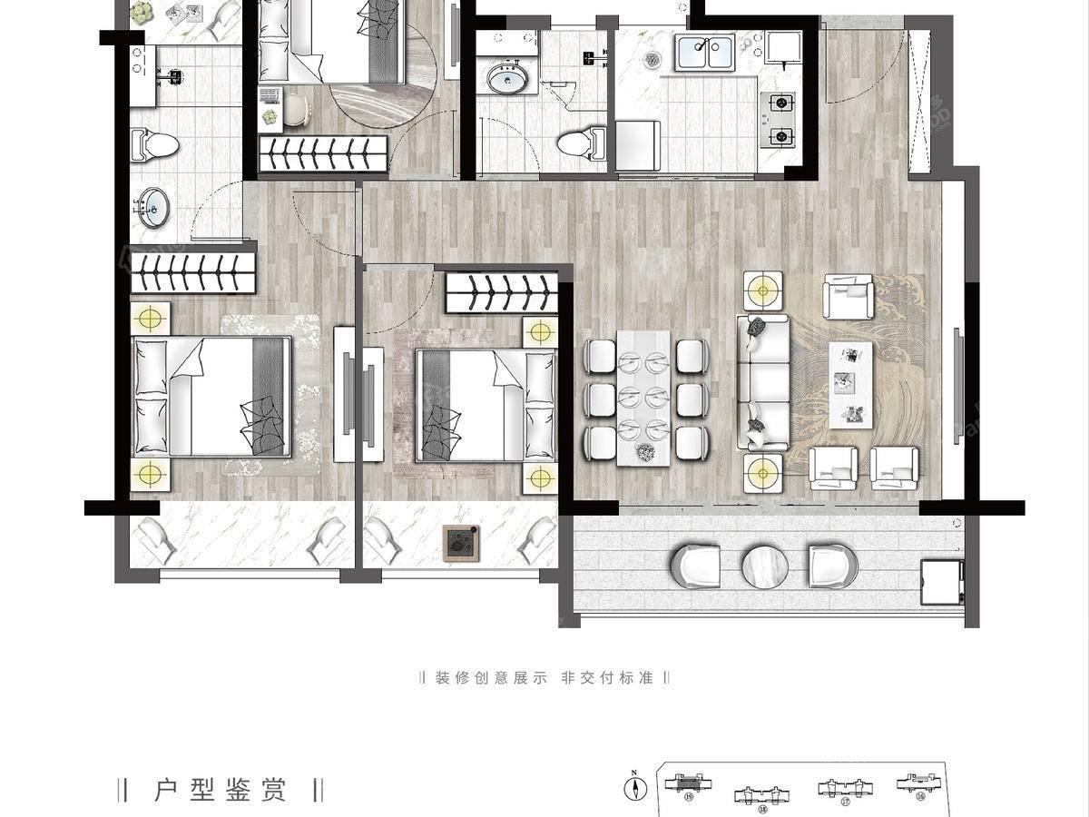天境上辰3室2厅2卫户型图
