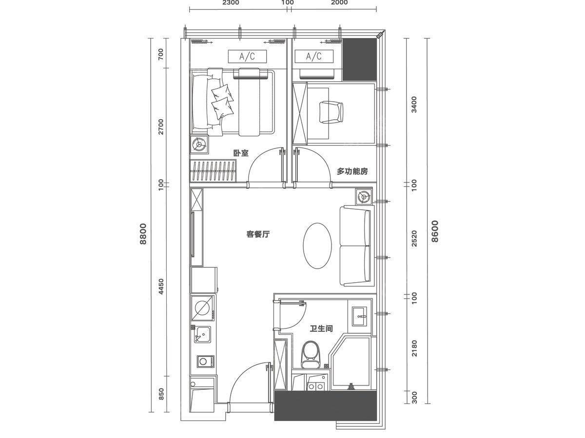 佳兆业时代大厦2室2厅1卫户型图