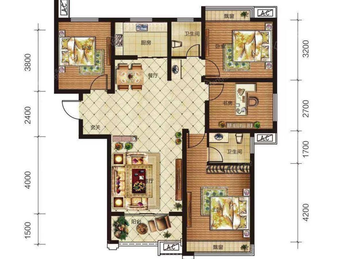 紫金御景4室2厅2卫户型图