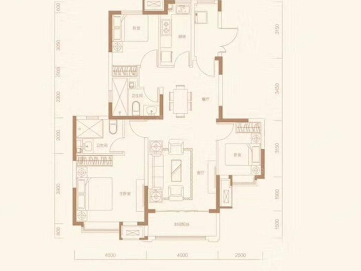 恒大翡翠湾3室2厅2卫户型图