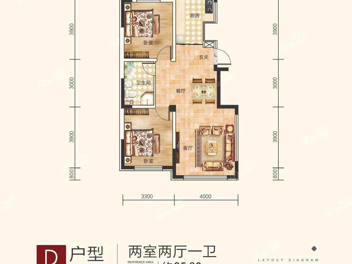 顺达·理想城2室2厅1卫户型图