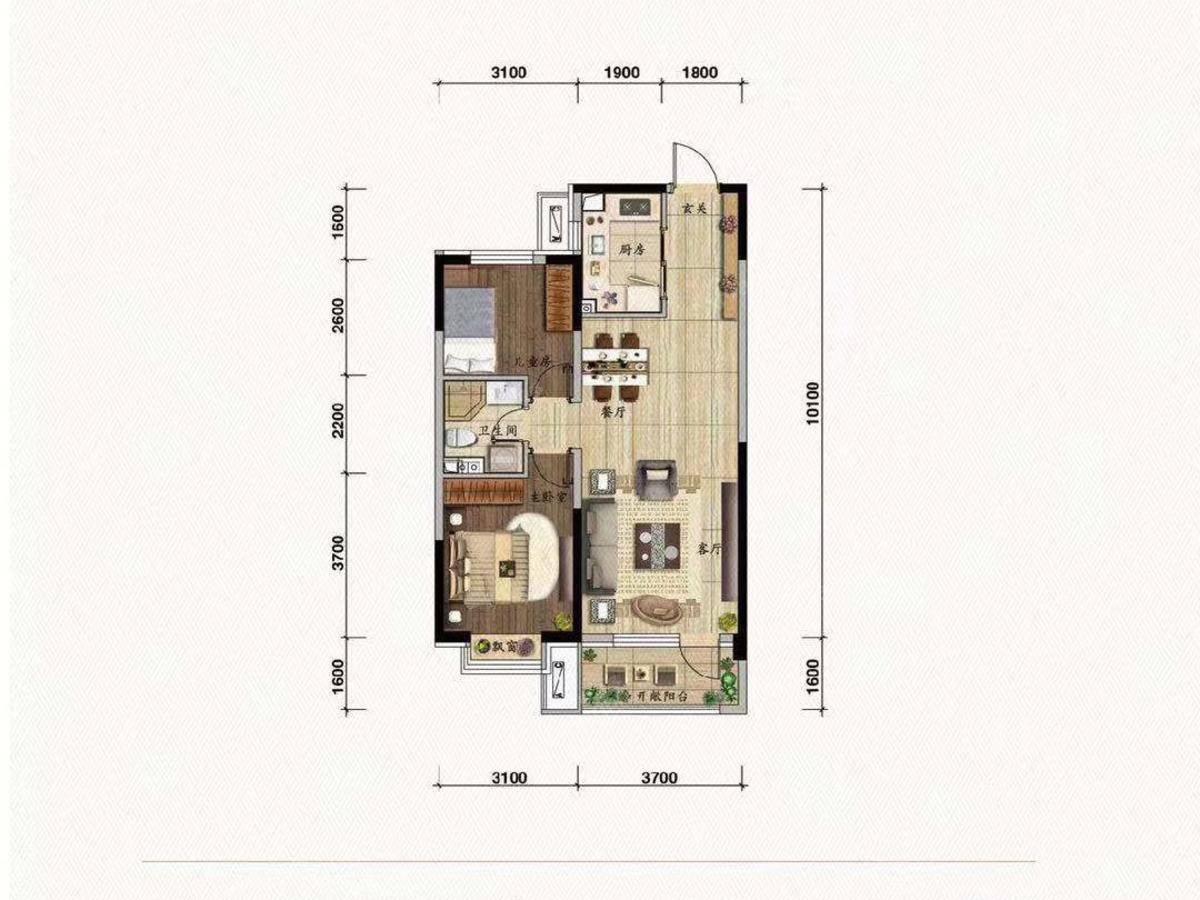 碧桂园御玺2室2厅1卫户型图