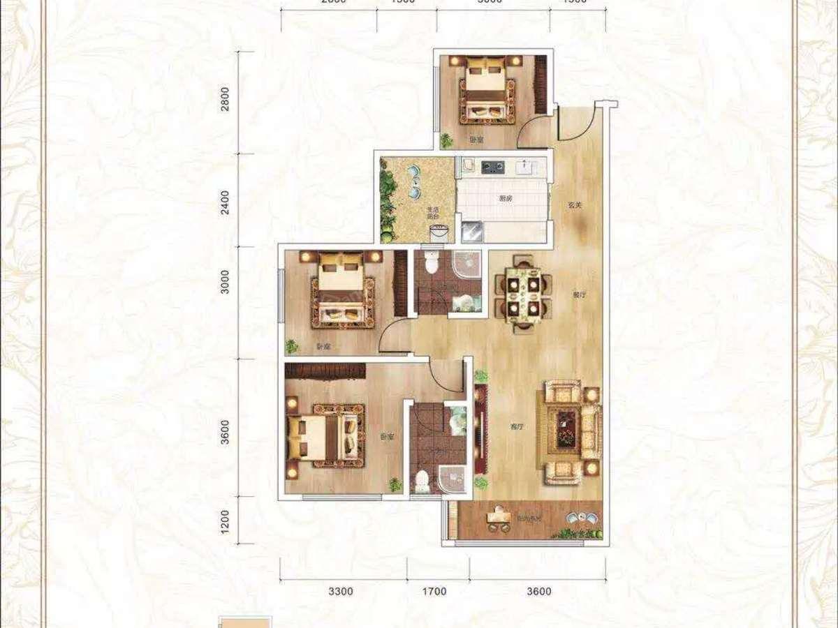 巴中恩阳中央公园3室2厅2卫户型图