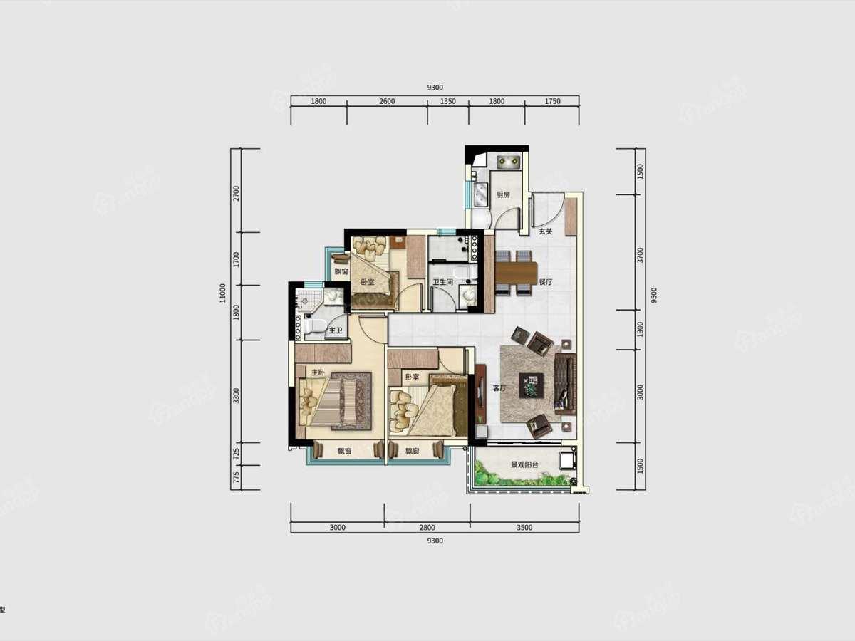 唐商翰林府3室2厅2卫户型图