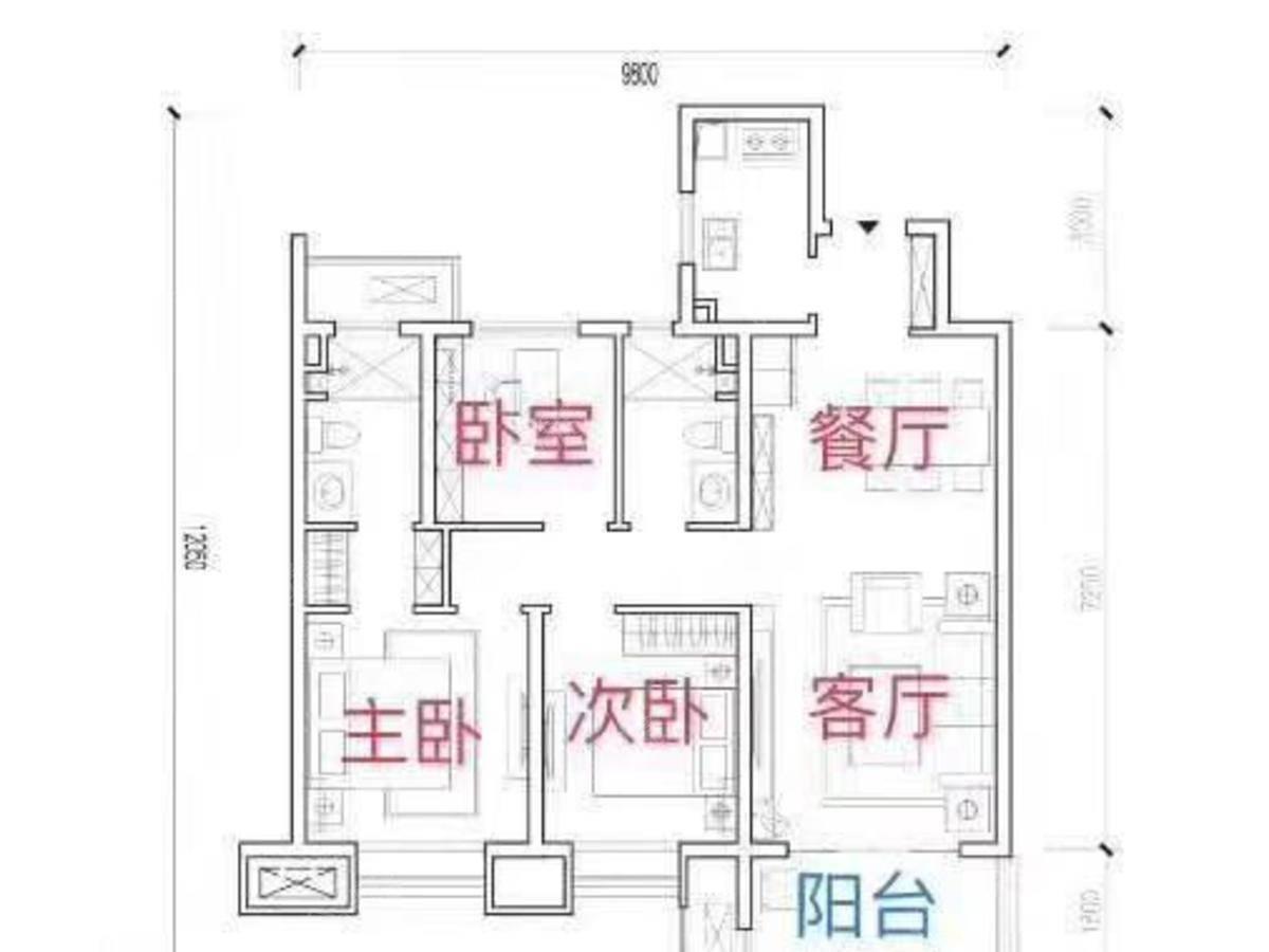 世茂·璀璨倾城3室2厅2卫户型图