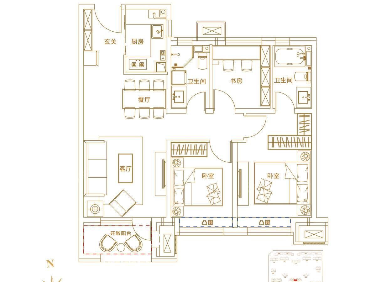 华夏航天首府3室2厅2卫户型图