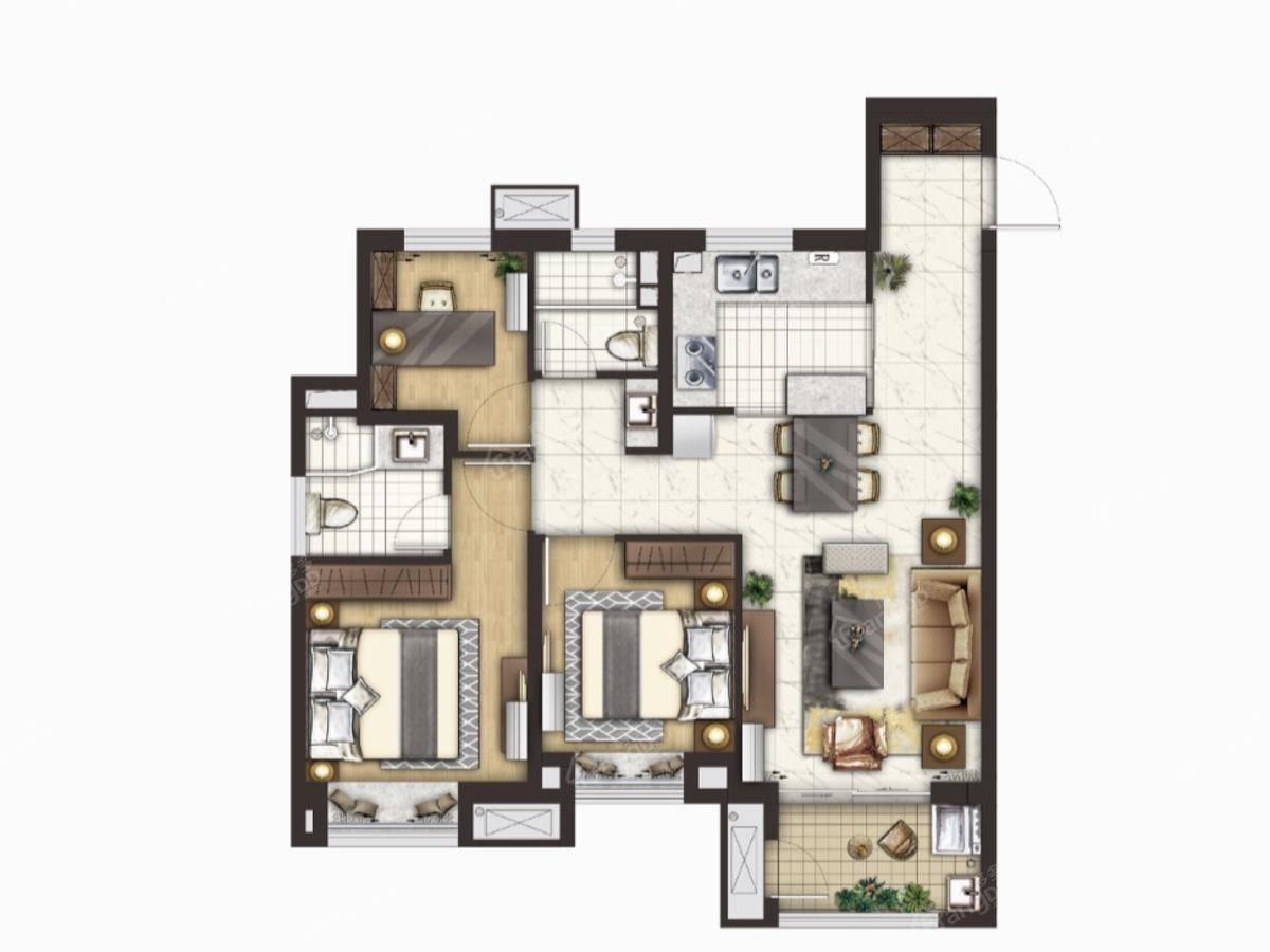 绿地·铂晶舍3室2厅2卫户型图