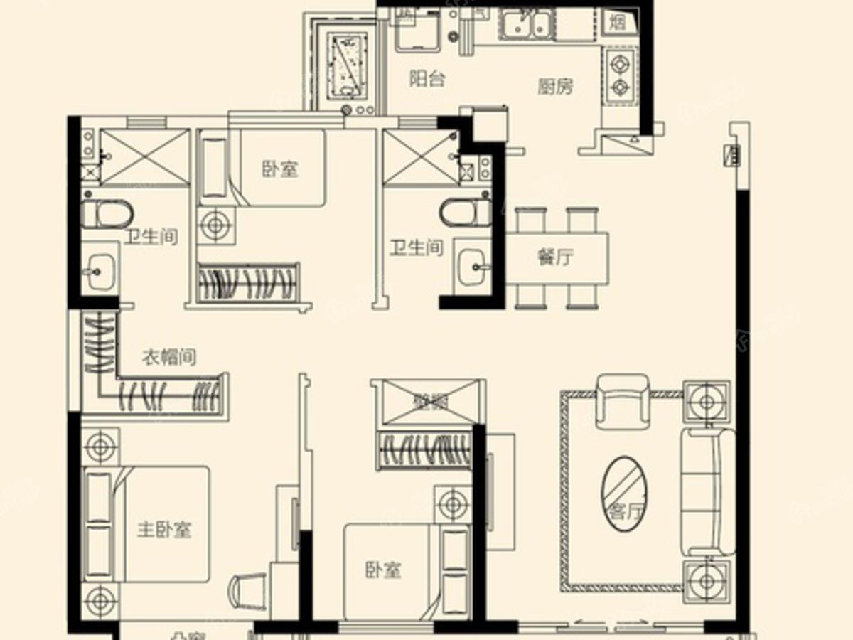 无锡恒大悦珑湾(悦珑府)3室2厅2卫户型图