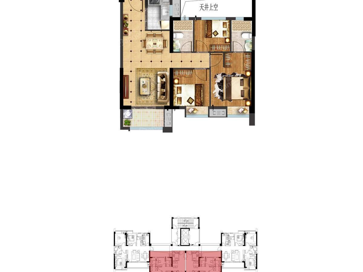 富力悦山湖3室2厅2卫户型图