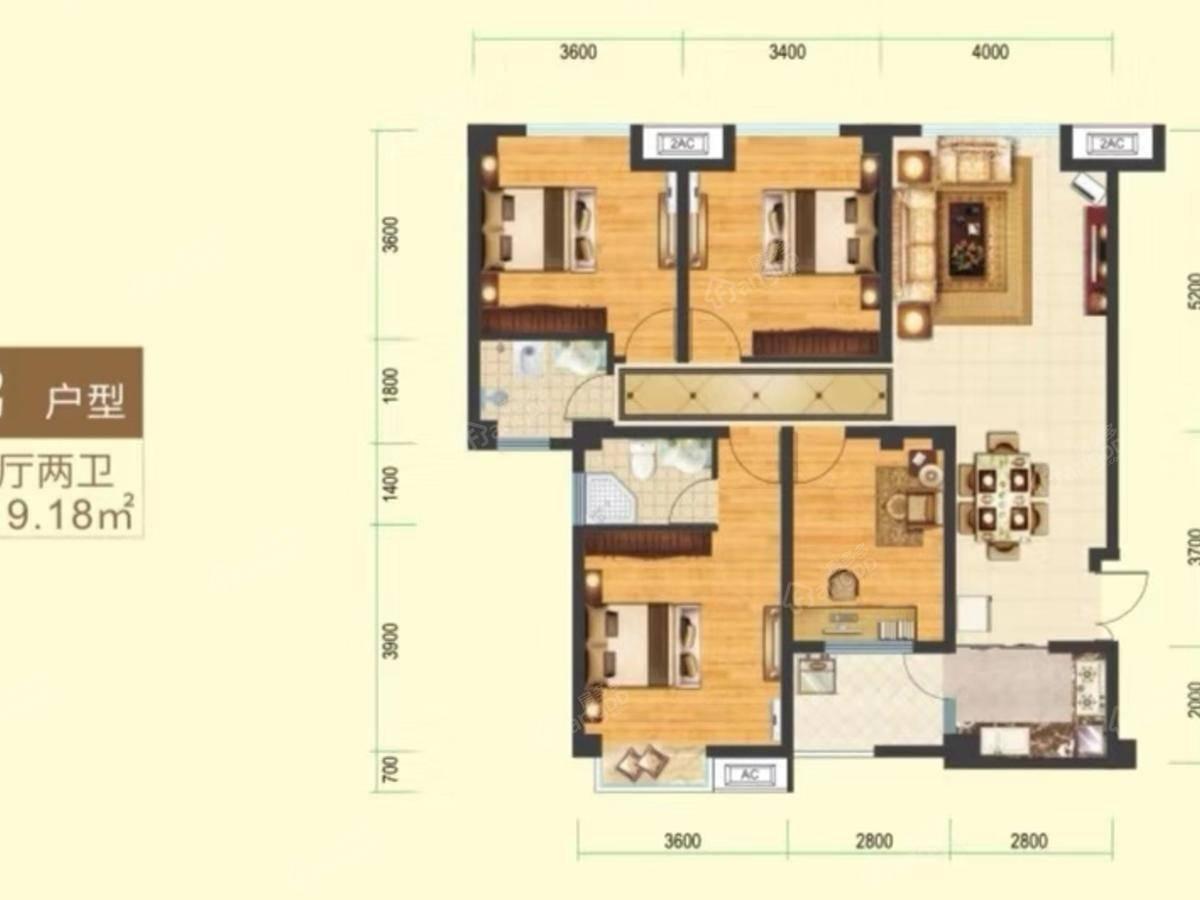明鑫巧寓4室2厅2卫户型图