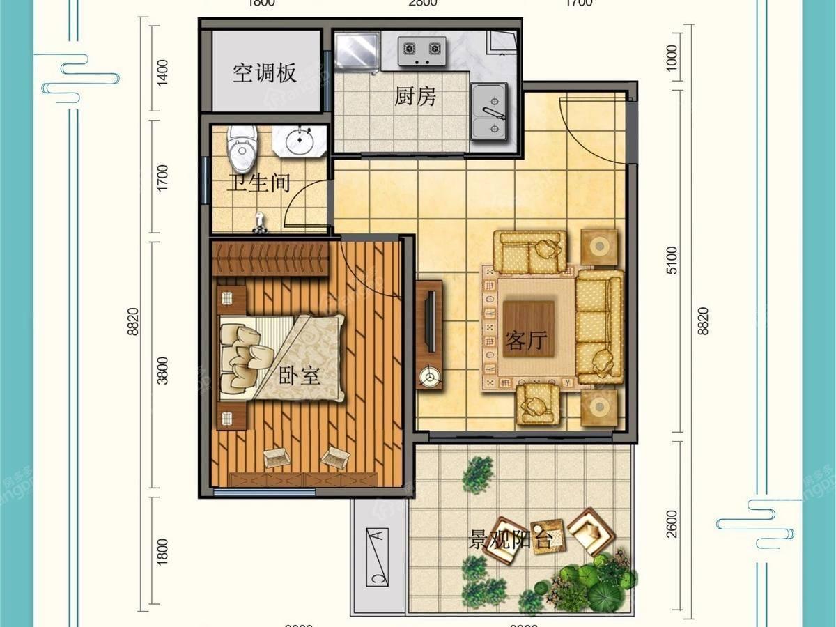 天泉·仙源国际旅游度假区2室1厅1卫户型图