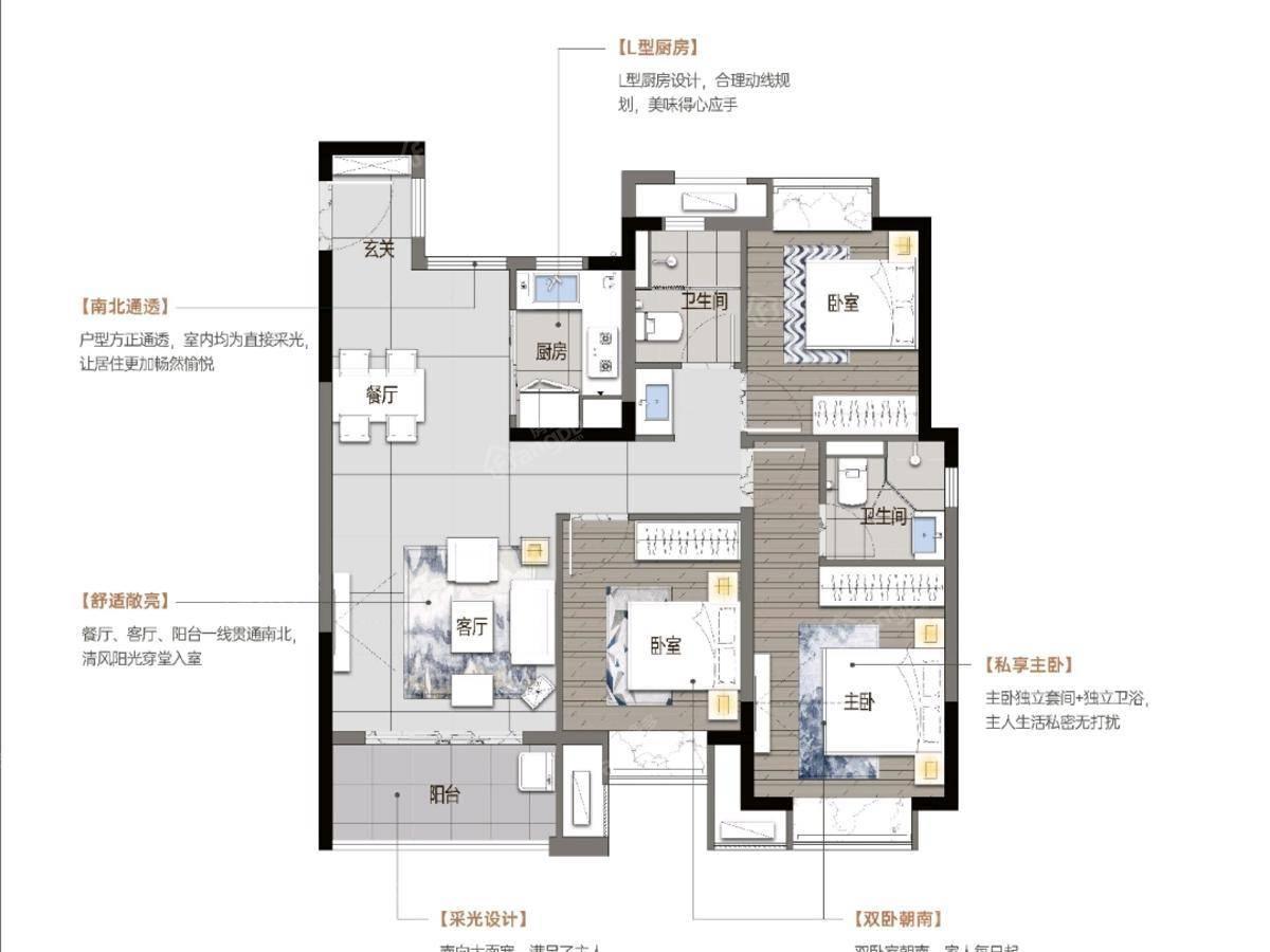 中奥世茂·天悦宸央3室2厅2卫户型图
