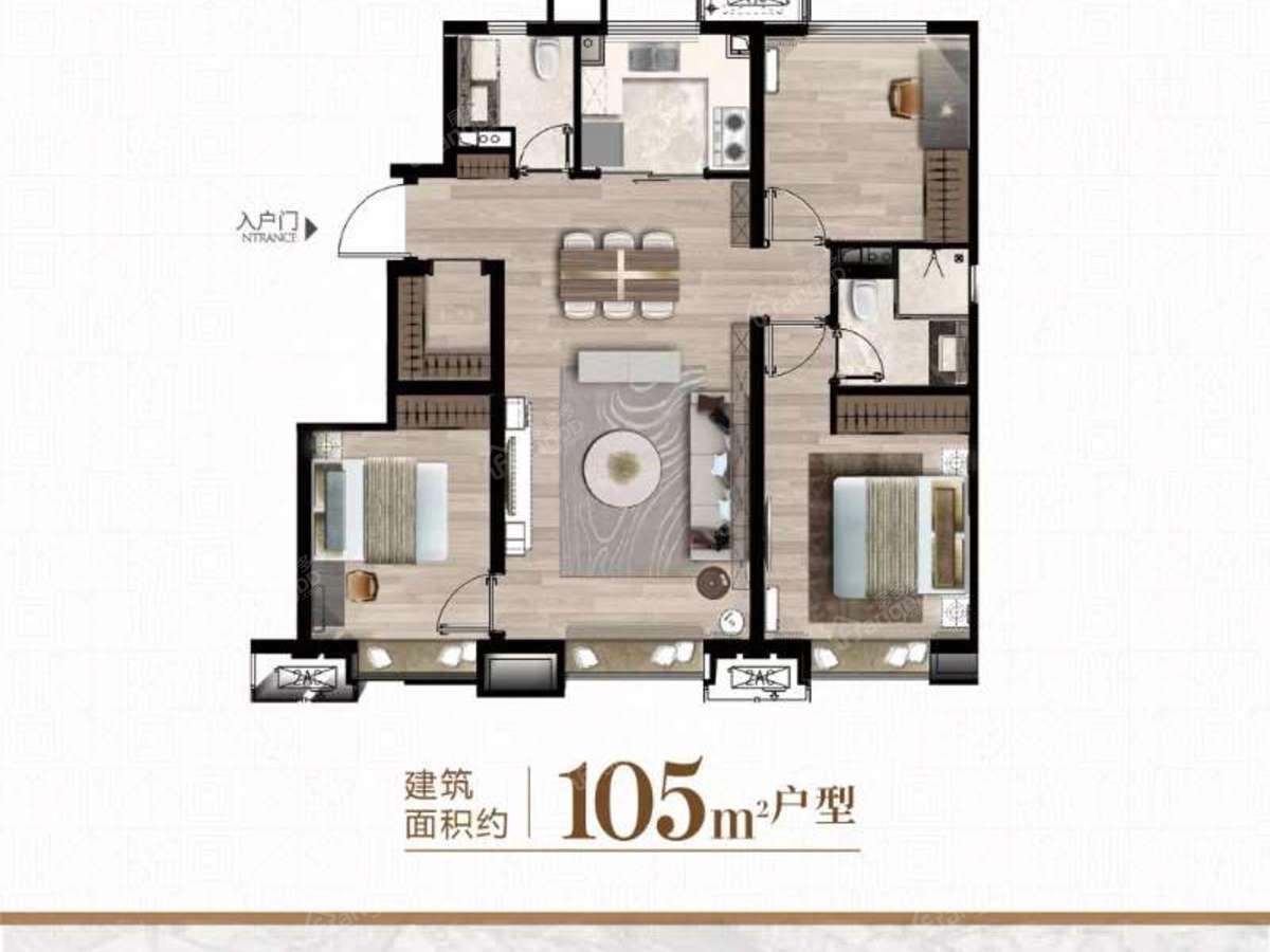 万科-西庐3室2厅2卫户型图