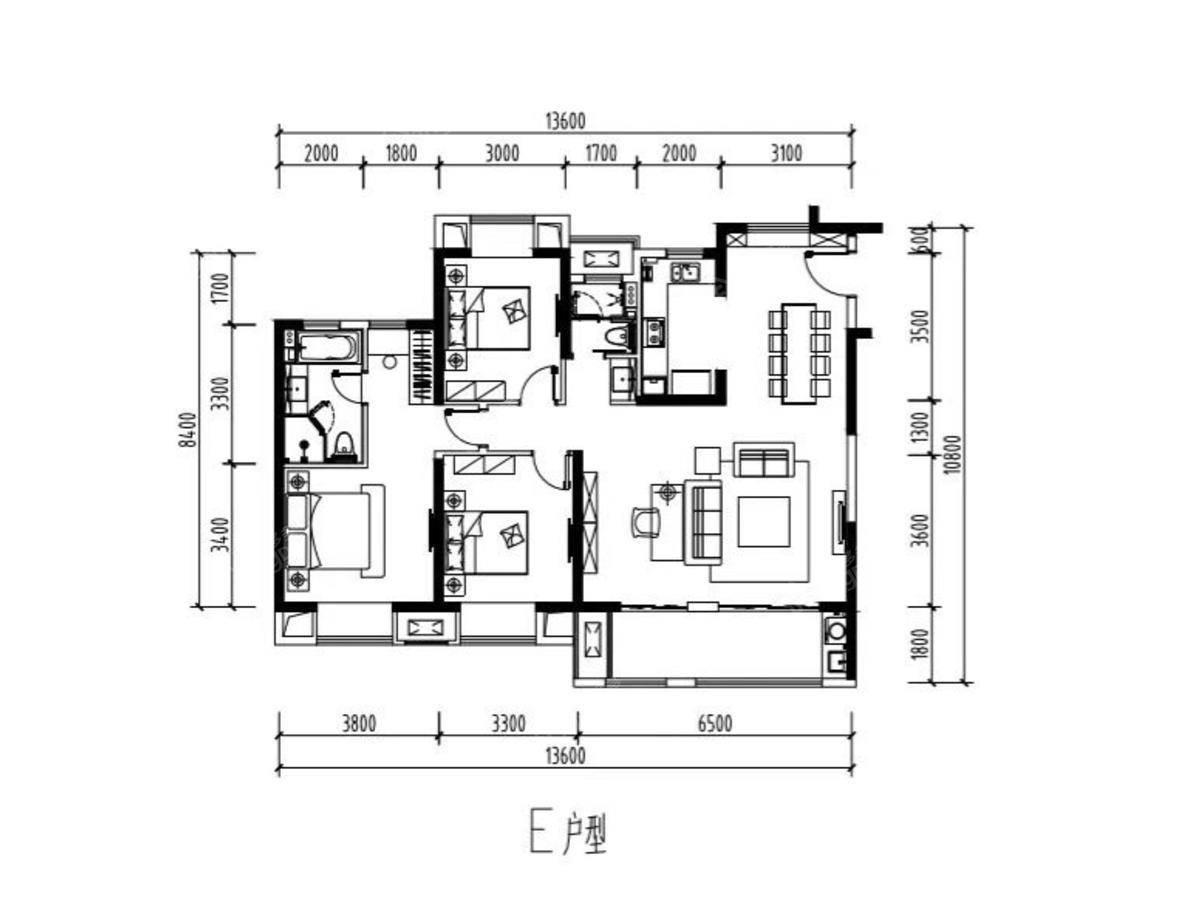 绿地西水晶舍3室2厅2卫户型图