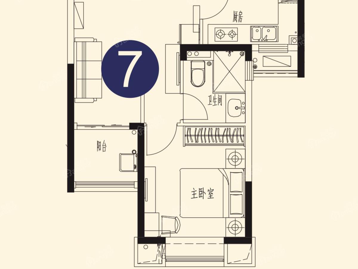 恒大世纪海岸1室1厅1卫户型图