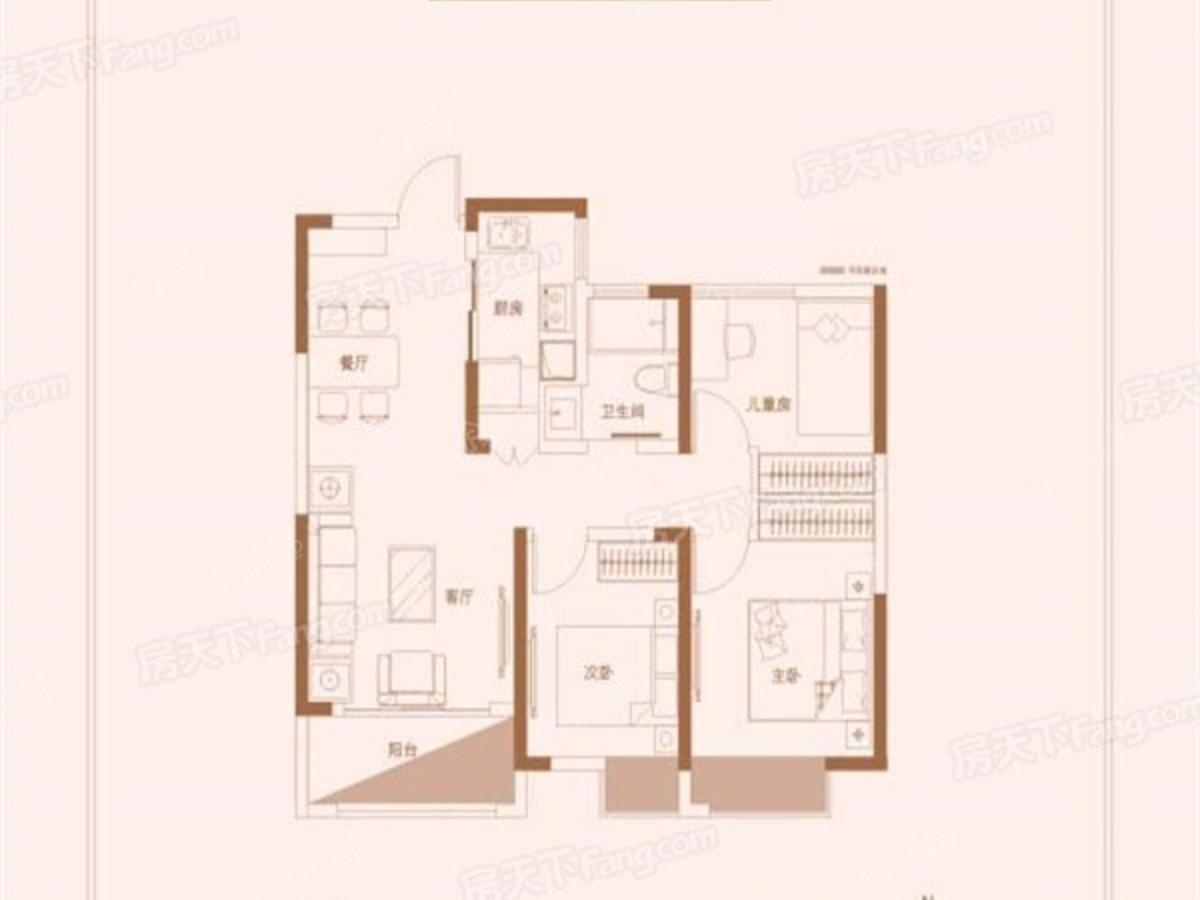 江铃时代城3室2厅1卫户型图