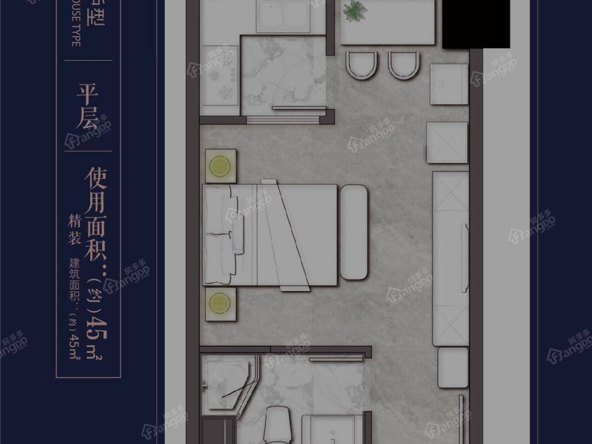 古运传奇1室1厅1卫户型图