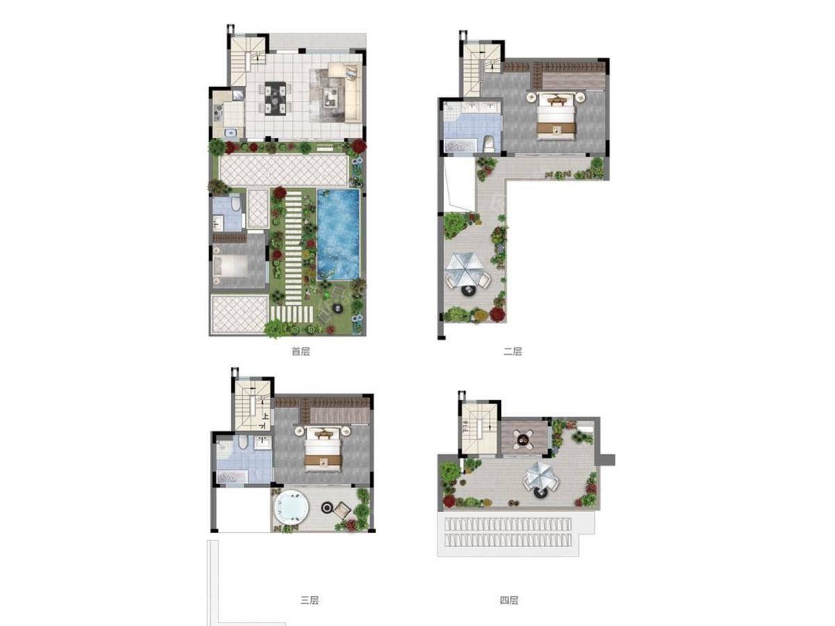 世茂印山海4室2厅3卫户型图