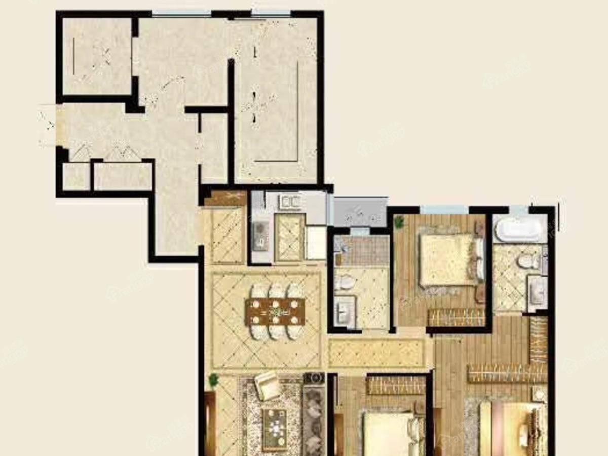 中梁应天首府3室2厅2卫户型图