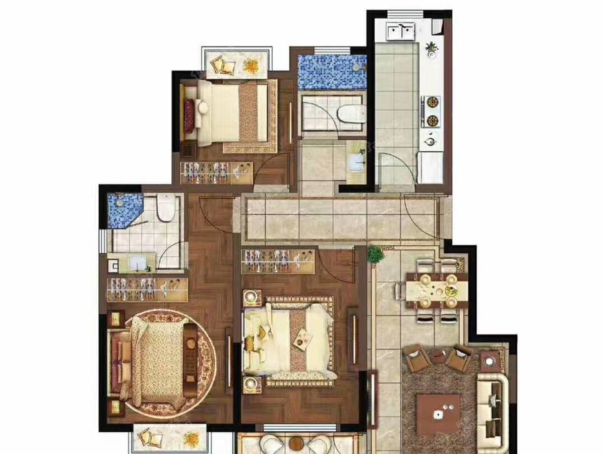 华君湖湾花园3室2厅2卫户型图
