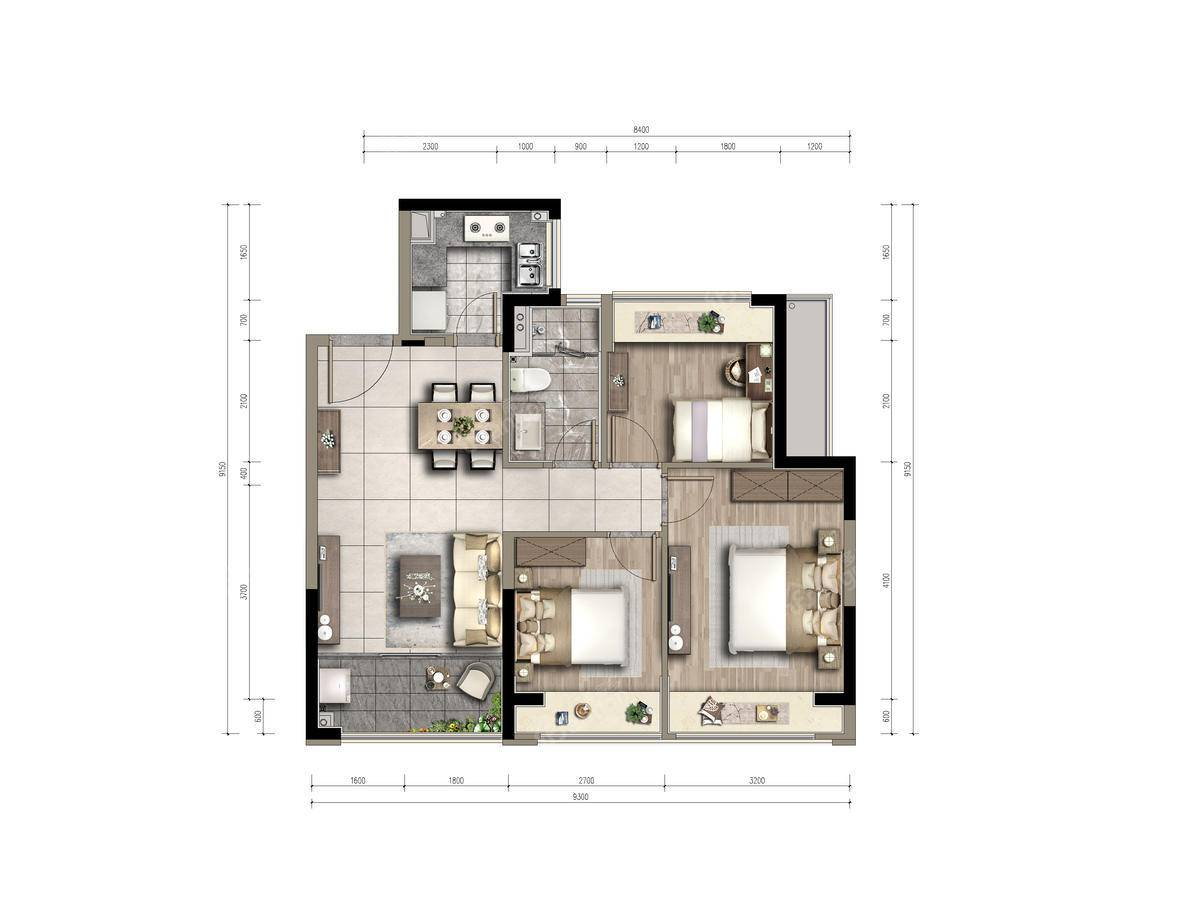 合生晶萃3室1厅1卫户型图