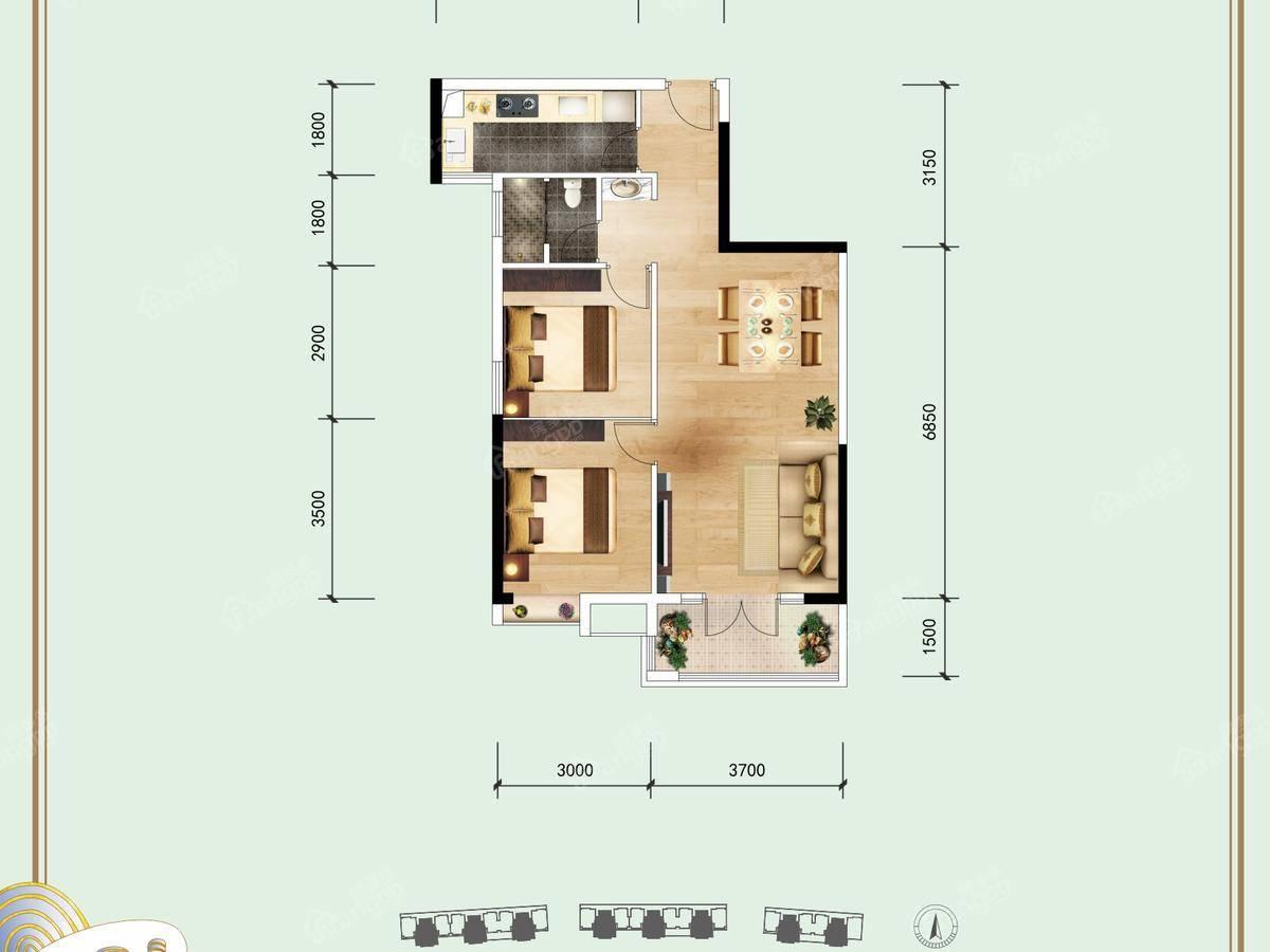 信基丽池澜湾2室2厅1卫户型图
