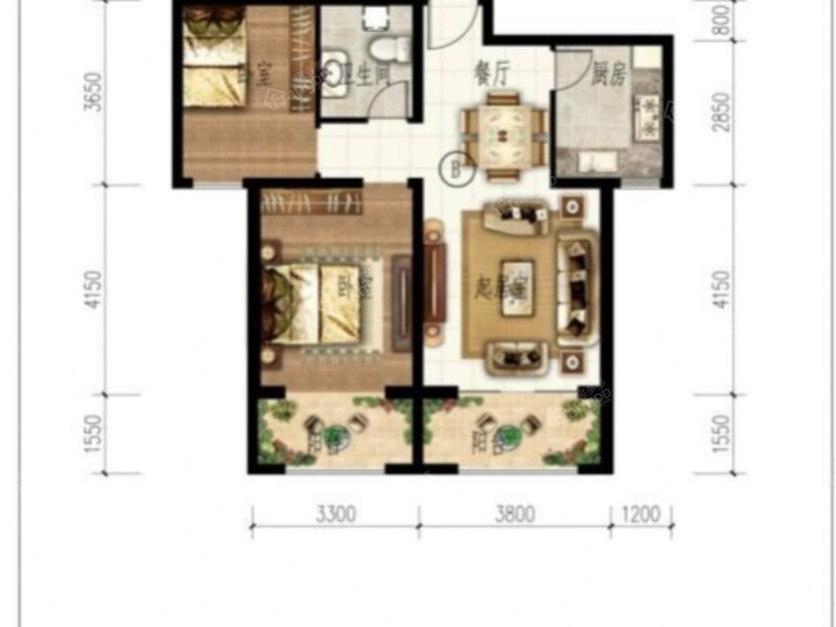 艾博龙园2室2厅1卫户型图