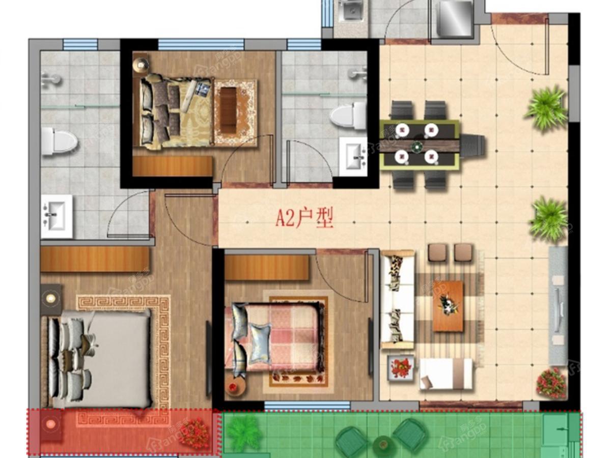 正荣宝嘉▪江滨府3室2厅2卫户型图