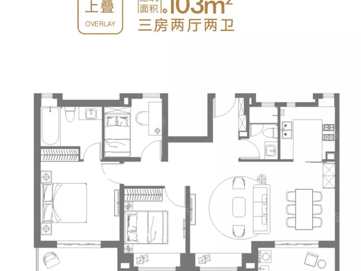 金地·公元20403室2厅2卫户型图