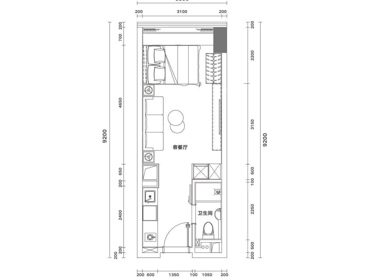 佳兆业时代大厦1室1厅1卫户型图