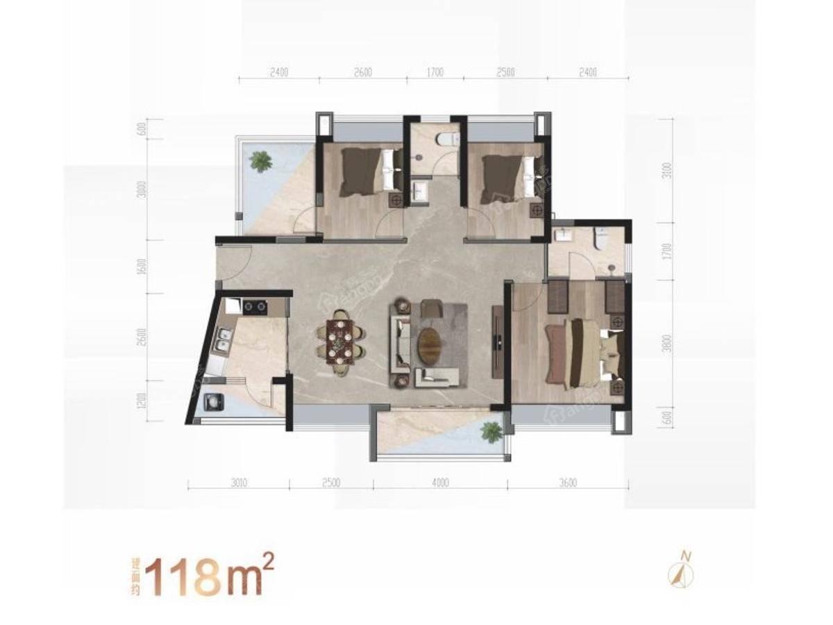 君华时代4室2厅2卫户型图