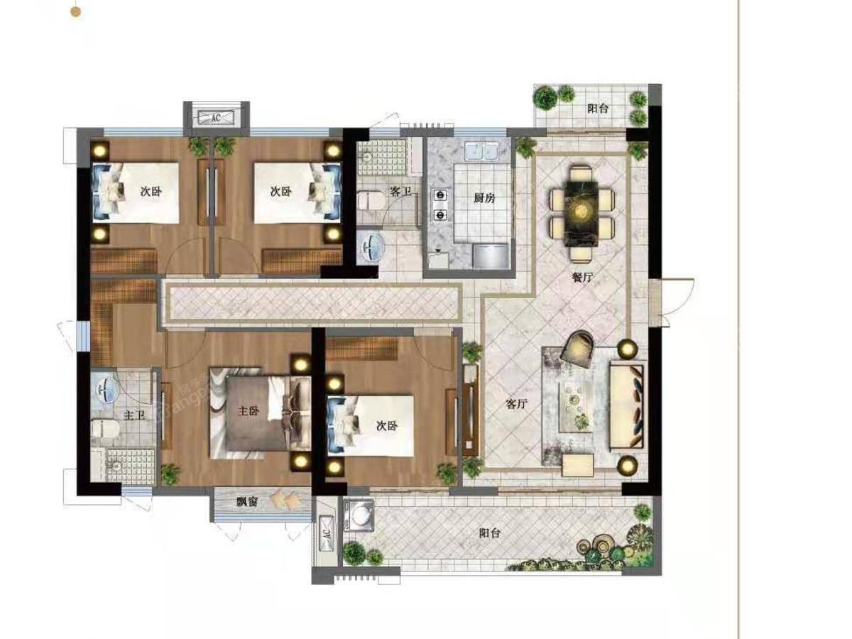 聚龙世茂国风4室2厅2卫户型图