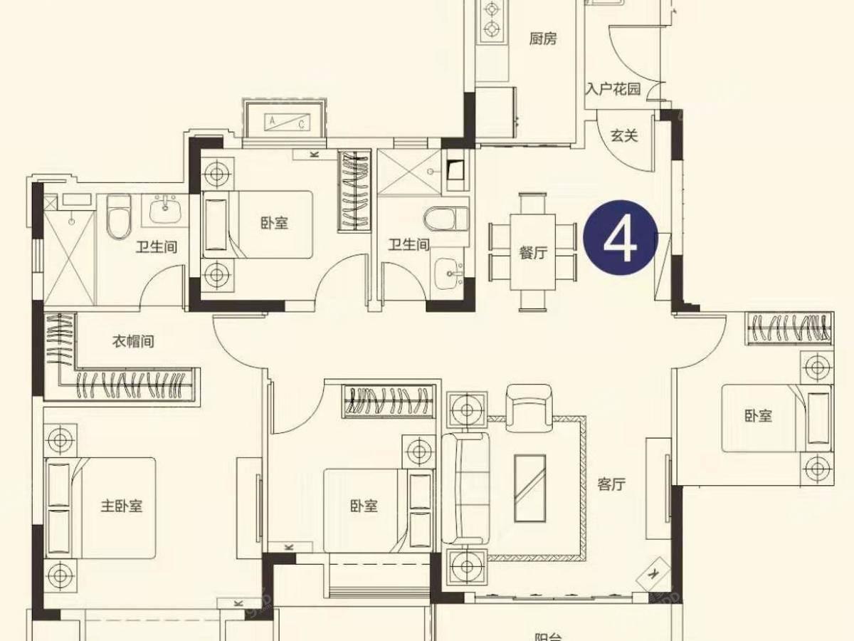 恒大世纪海岸4室2厅2卫户型图