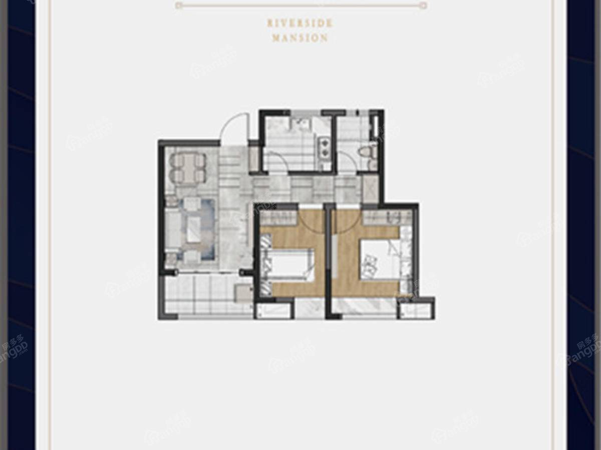 澜庭2室2厅1卫户型图