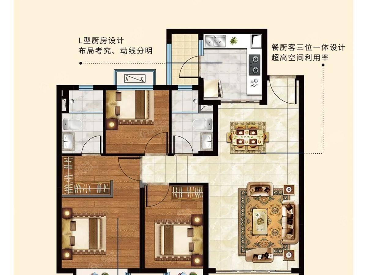 太仓恒大文化旅游城3室2厅2卫户型图