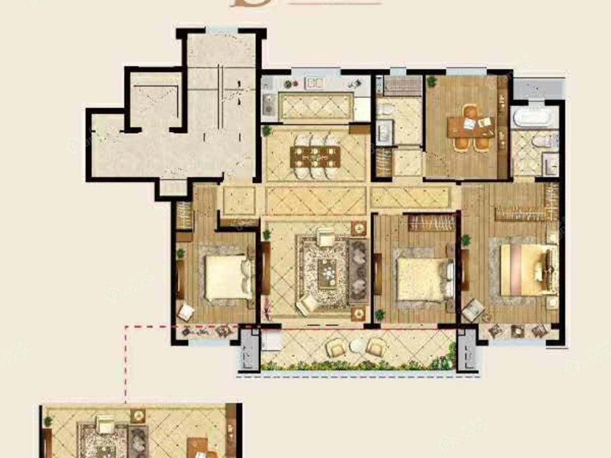 中梁应天首府4室2厅2卫户型图