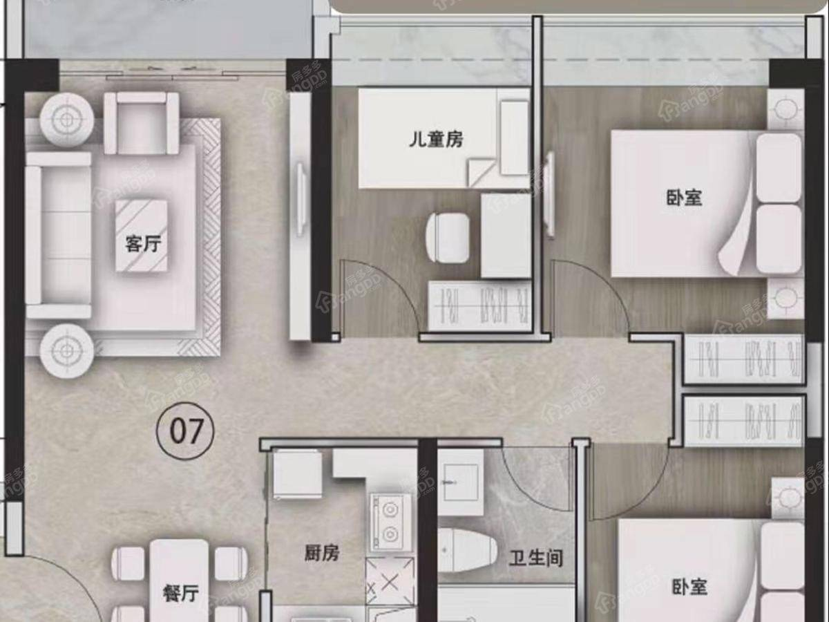 越秀天珹3室2厅1卫户型图