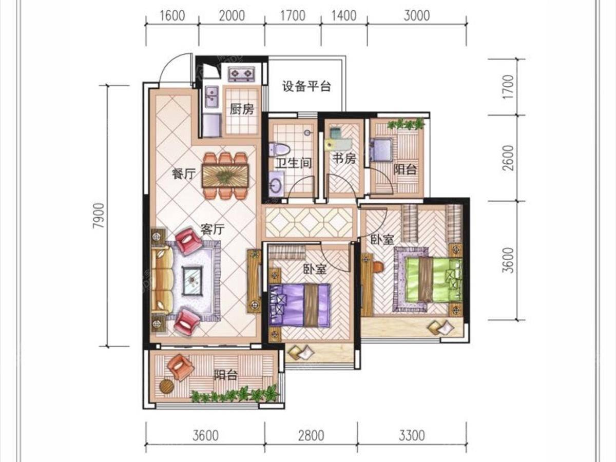 花样年麓湖国际社区3室2厅1卫户型图