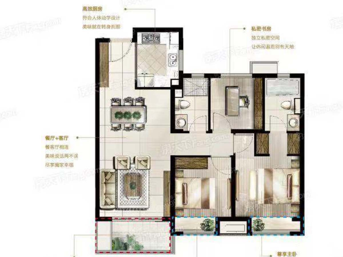 富力运河十号 3室2厅2卫