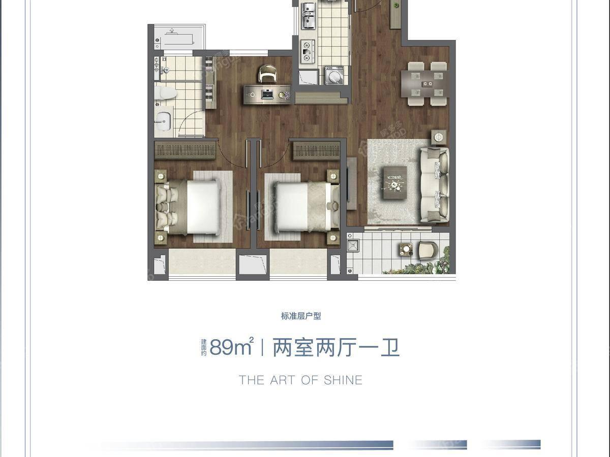 长江映2室2厅1卫户型图