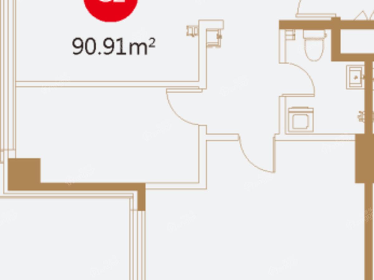 恒昌卢浮公馆2室1厅1卫户型图