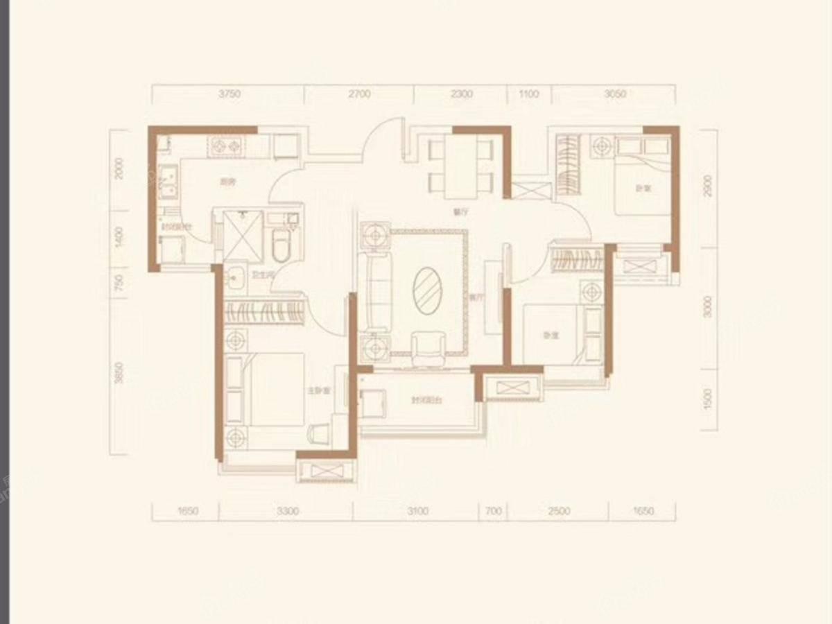 恒大翡翠湾3室2厅1卫户型图