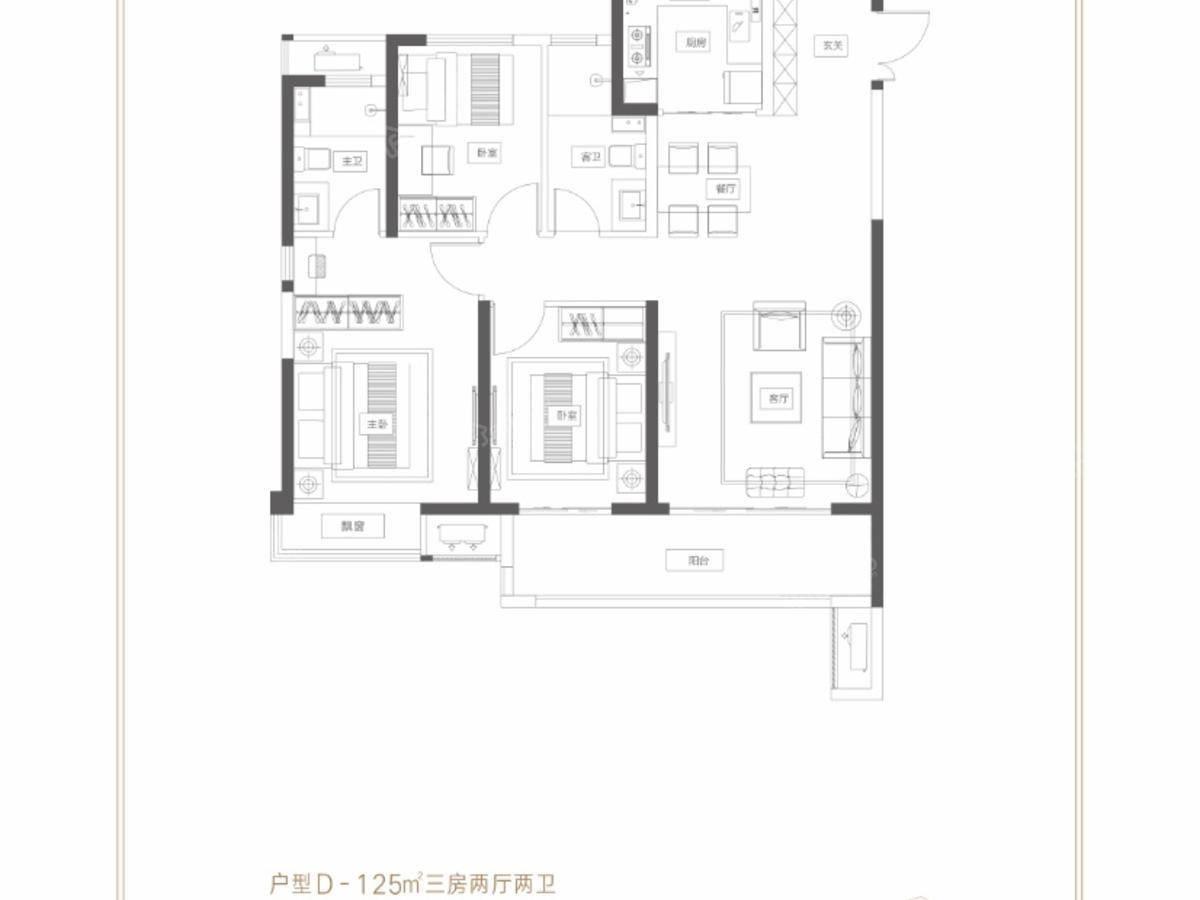 富田城·九鼎华府3室2厅2卫户型图