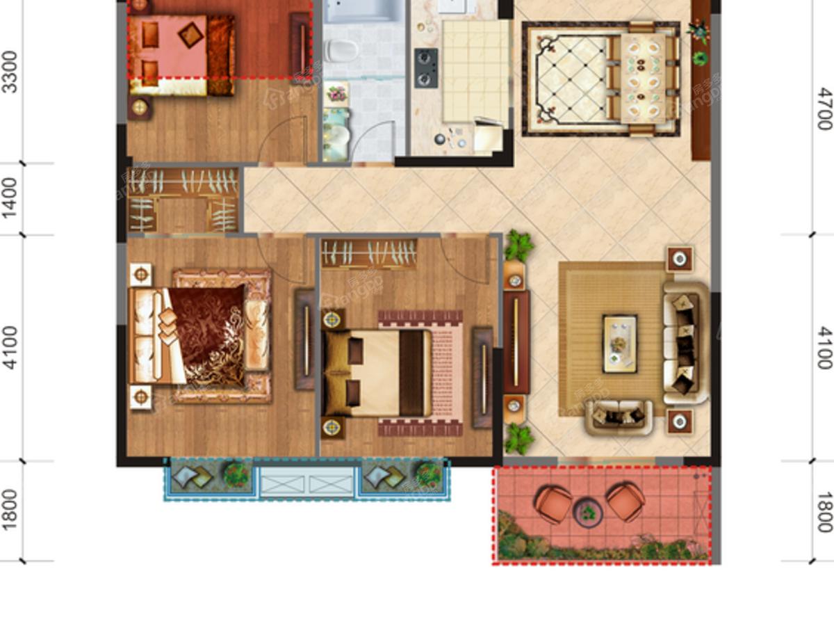 威港·泉都豪庭3室2厅1卫户型图