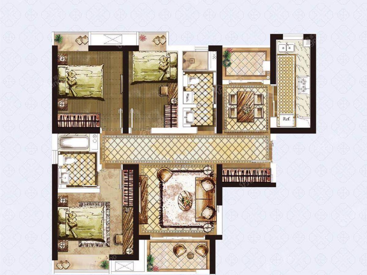 盘古园府3室2厅2卫户型图