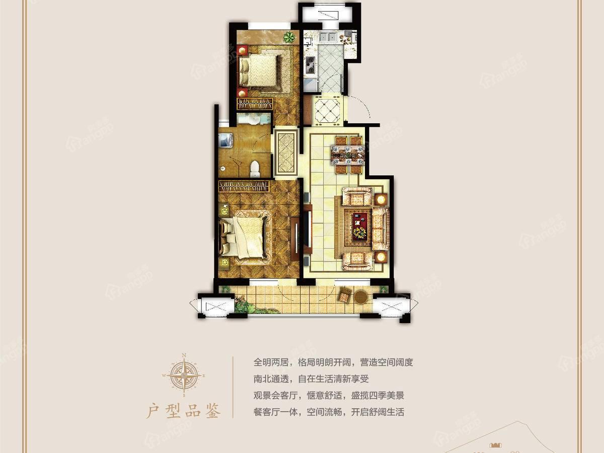 牛驼温泉孔雀城2室2厅1卫户型图